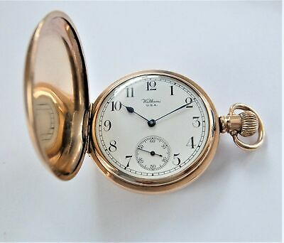 £77 • Buy 1919 Gold Filled Waltham 15 Jewels Full Hunter Pocket Watch  In Working Order