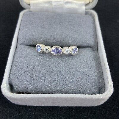 £36.26 • Buy .925 Sterling Silver Tanzanite & White Sapphire Band Ring Size 7