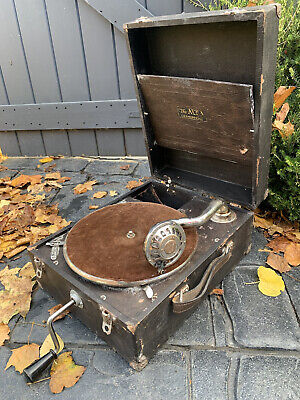 £55 • Buy PROJECT GRAMOPHONE RECORD PLAYER ALBA 1930s PORTABLE IN BOX CARRY CASE