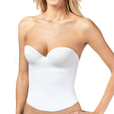 B C D Most Sizes Low Back Wedding PUSH UP BRIDAL SEAMLESS BUSTIER CORSET White • 15.31£
