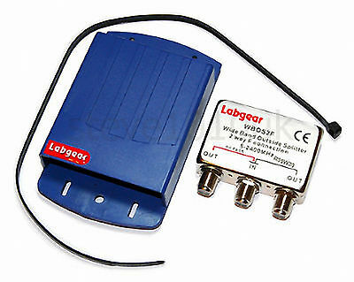 Labgear 2 Way Outdoor TV Aerial Freeview Masthead Splitter UHF/VHF • 9.99£