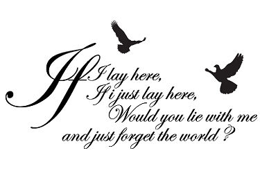 If I Lay Here Snow Patrol Wall Sticker Decal Quotes • 16.99£