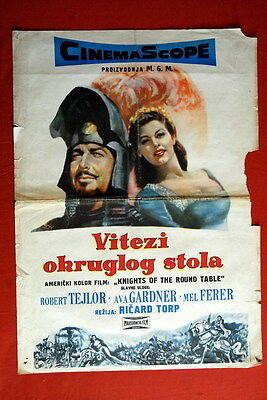 Knights Of Round Table Ava Gardner 1953 Robert Taylor M.ferrer Exyu Movie Poster • 21.70£