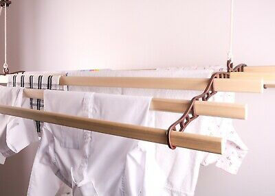 £91.50 • Buy Vintage Clothes Airer Rack Dryer Ceiling Hanging Pulley Operated 7 Wooden Slats