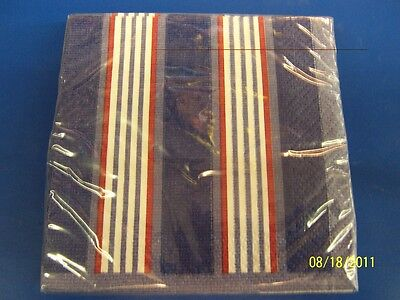 Ahoy Party Striped Summer Luau Party Beverage Napkins • 2.14£