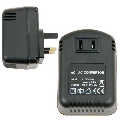UK Plug To US Socket Voltage Step Down Converter *230V - 110V 45W* Mains Adapter • 13.49£