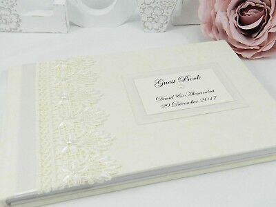 Personalised  Guipure Lace  Wedding Guest Book - White & Ivory + 2 Sizes     • 25£