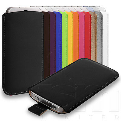£3.49 • Buy 12 Colours Custom Fitted Soft Pu Leather Pouch Case For Various Mobile Phones