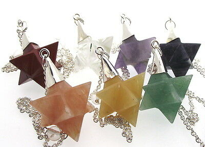 Set Of 7 Merkaba Star Gemstone Chakra Pendulums Dowsers • 32.99£