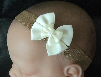 Baby Girl/reborn Doll Taupe & Ivory  Satin Double Bow Headband All Size • 1.85£