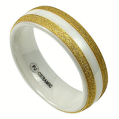 $6 • Buy Men's White CERAMIC Ring With Brushed Golden Accent Bands, Size 11 - In Gift Box