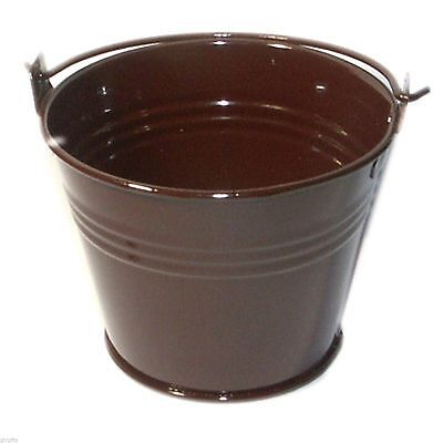 £5.99 • Buy Pack Of 10 Metal Chocolate Brown Favour Pails Favour Buckets XMEFABU10