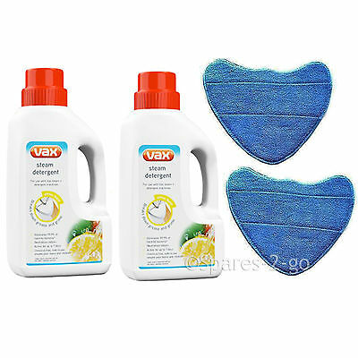 2 Vax Steam Detergent Solution & Microfibre Cleaning Pads For Steam Cleaner Mops • 20.25£