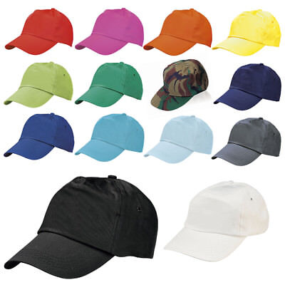 BASEBALL CAP 100% COTTON ADULT SIZE Sports Hat - Adjustable 14 Colours BRAND NEW • 1.99£