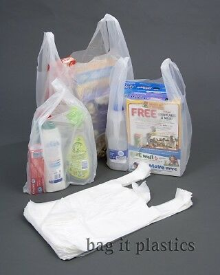 CARRIER BAGS WHITE VEST STYLE PLASTIC BAG SMALL, MEDIUM & LARGE  100% Recyclable • 3.50£
