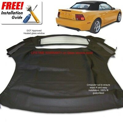 $339 • Buy Ford Mustang Convertible Soft Top & Heated Glass Window Black Sailcloth 1994-04