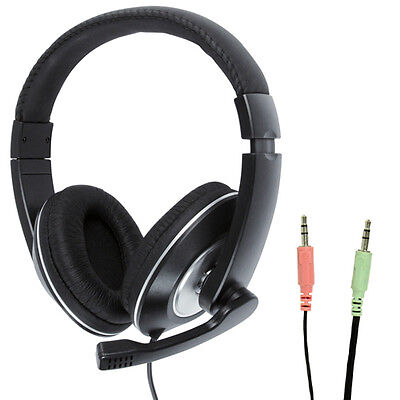3.5mm Stereo Closed Headset & Microphone Mic -Volume Control- VOIP Skype Gaming • 18.99£