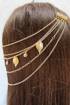 £10.25 • Buy New Women Gold Metal Head Chain Hair Pin Jewelry Claws Leaves Silver Rhinestones
