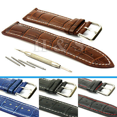 Mens Leather Watch Strap Band + Tool Spring Bar Pins 18mm 20mm 22mm 24mm • 3.99£