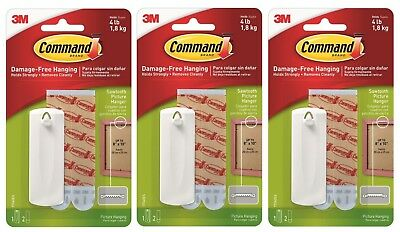 Pack Of 3 Command Sawtooth Picture Hanger Damage Free Hook Hold Up To 1.8kg • 10.95£