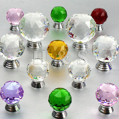 Crystal Glass Door Knobs Drawer Cabinet Cupboard Furniture Kitchen Handle - Pull • 5.49£