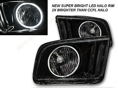$158 • Buy Pair Black Smoke Halogen Ver. Headlights W/ LED Halo For 2005-2009 Ford Mustang