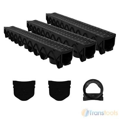 £38.52 • Buy Aquaflow Garage Water Drainage System Channel & Grate 3m Kit Outlet & End Stops
