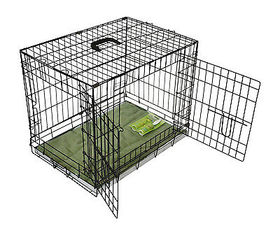 View Details Metal Dog Crate Crates 2 Doors With Bedding & Lint Rollers Black Folding CARRIER • 49.99£