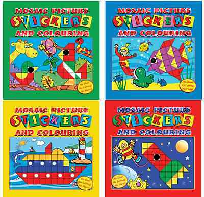 Mosaic Sticker Picture Books Create & Colour Childrens Activity Party Bag Filler • 1.95£