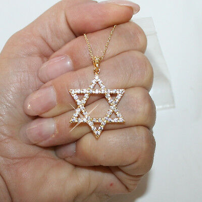 14k Diamond-cut Star of David w//Cross Pendant