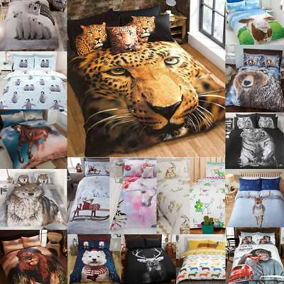 Animal Photographic Print Duvet Quilt Cover Bedding Set & Pillowcases • 18.99£