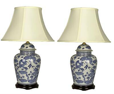 Pair Of Chinese Tall Jar Table Lamps With Shades - Blue Dragons • 265£