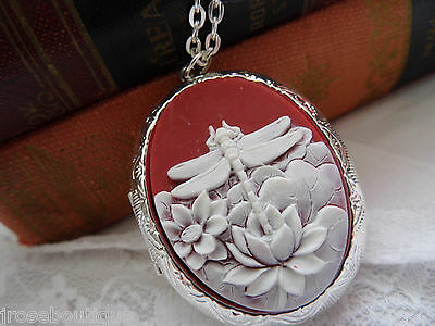 $ CDN22.59 • Buy VALENTINE Dragonfly Silver Gold Photo Locket Mom LOTUS FLOWER Memorial PILL Box