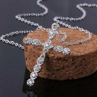 $1.20 • Buy Hot 925 Women Silver Fashion Wedding Party Crystal Cross Necklace Jewelry N668