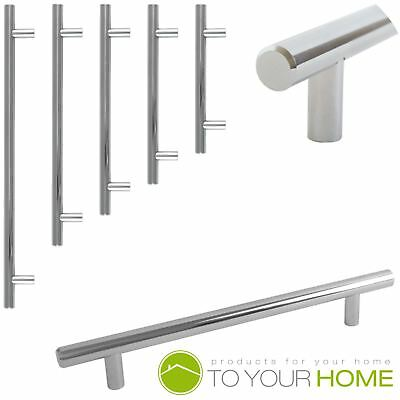 T Bar Chrome Kitchen Cupboard Cabinet Drawer Door Handles 5 Sizes • 1.69£