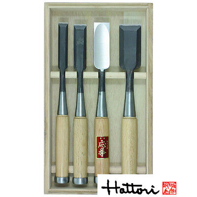 Japanese Hattori Carpenters Chisels 4pc Set In Wooden Box DT710850  • 163.35£
