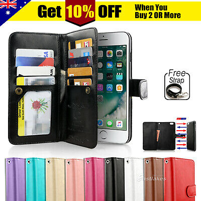 AU15.99 • Buy For IPhone 11 Pro XS MAX XR 8 7 Plus 6s Wallet Magnetic Flip Leather Case Cover