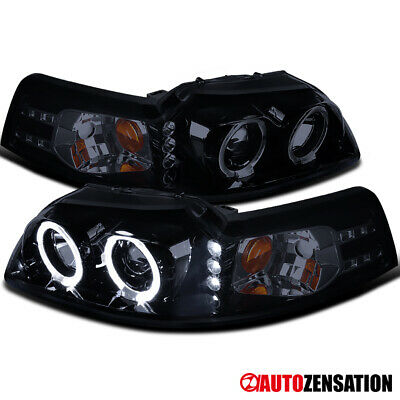 $111.14 • Buy For 1999-2004 Ford Mustang Black Smoke Halo Rims Projector Headlights W/ LED