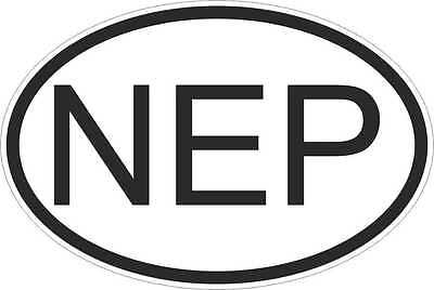 OVAL Sticker Flag Country Code Bumper Decal Car Nepal Nepalese NEP • 2.45£