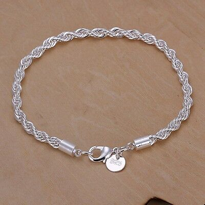 $0.99 • Buy Cute925 Silver Fashion 4MM Rope Solid Chain Women Men Party Bracelet Jewelry
