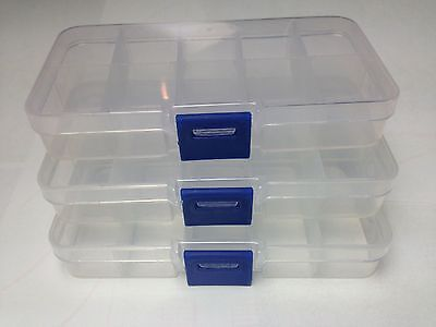 Compartment Box Small 3x 10 Organiser Storage Plastic Craft Bead Nail Fuse Beads • 3.79£