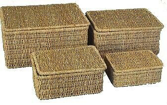 £7.99 • Buy Woodluv Seagrass Storage Basket Box With Lid Small Medium Large Extra Large