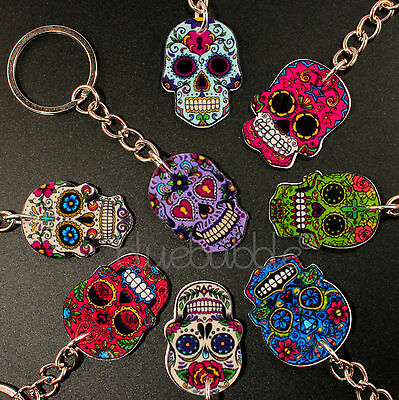 £2.99 • Buy Funky Mexican Sugar Skull Keyring Evil Zombie Day Of The Dead Emo Gothic Kitsch