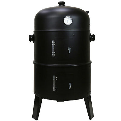 Black Garden 3 In 1 BBQ Charcoal Grill Barbecue Smoker & Hangers Outdoor Cooker • 39.95£