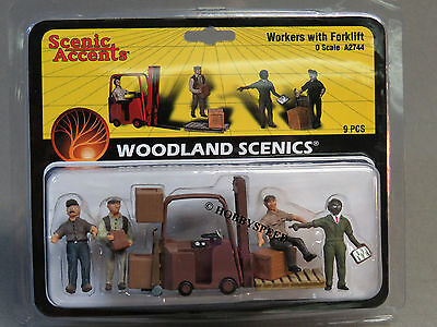 $19.84 • Buy WOODLAND SCENICS WORKERS FORKLIFT O Gauge Train Figures Freight People WDS2744