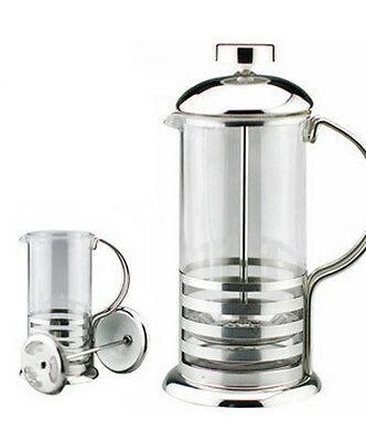 800ml / 8-cup Stainless Steel Glass Cafetiere French Filter Coffee Press Plunger • 9.95£