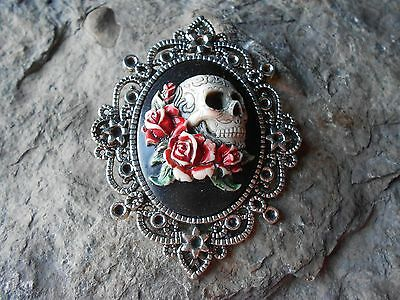 $25.06 • Buy *skull & Red Roses (hand Painted) Cameo Pendant - Mexican Sugar -  Grateful Dead