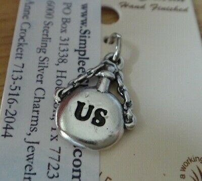 Sterling Silver 3D 17x12mm Civil War Union Soldier Canteen Says US Charm • 18.16£