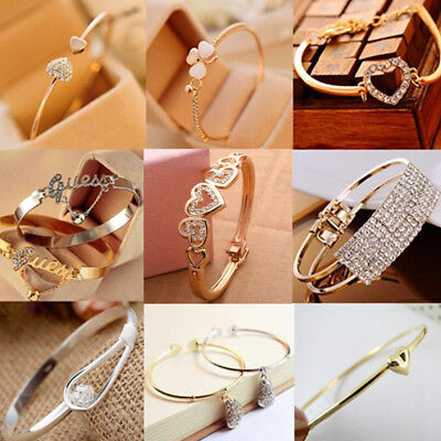 $0.76 • Buy Women Fashion Jewelry Gift Gold Silver Rhinestone Crystal Bangle Cuff Bracelet