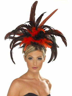 Show Girl Headband Red Black Feather Can Can Headpiece Fancy Dress • 6.99£